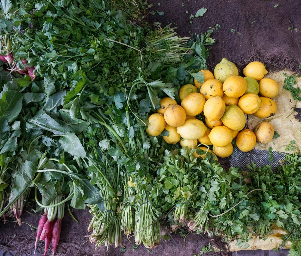 Grönsaksmarknad i Marrakech, Marocko